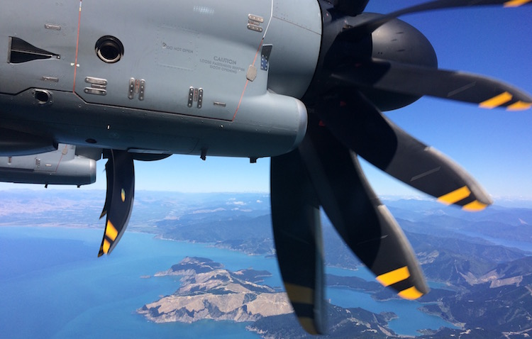The RAF A400M over the Cook Strait.