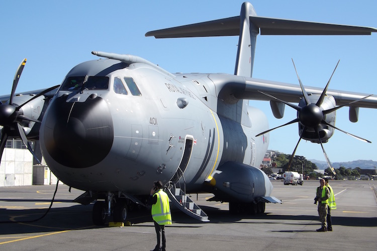 Airbus Atlas A400M on the tarmac at Wellington Airport