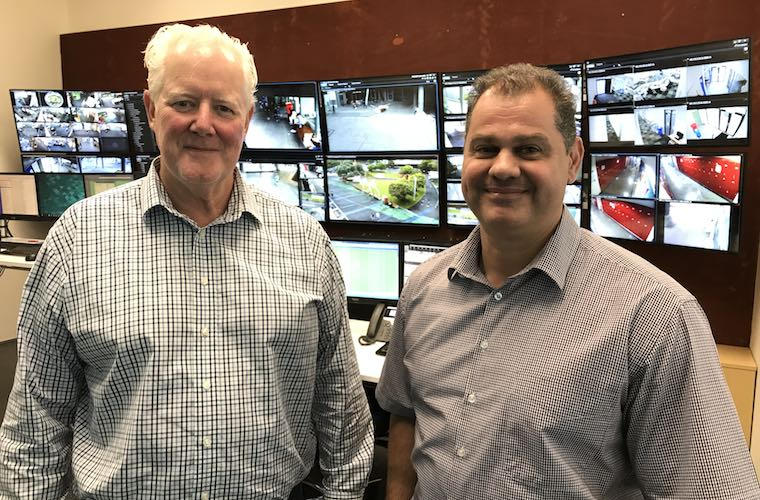 AUT Security's Willie Taylor MNZM and Rehan du Toit in AUT's top-of-the-line control room.