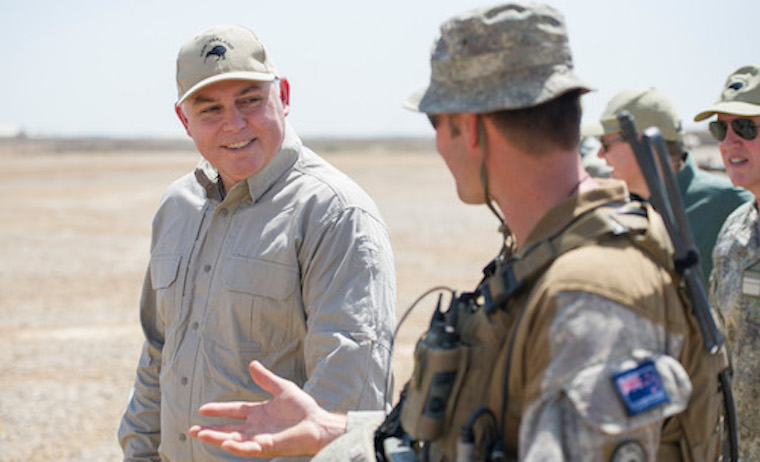 Hon Mark Mitchell visits deployed NZDF soldiers in his previous role as Minister of Defence.