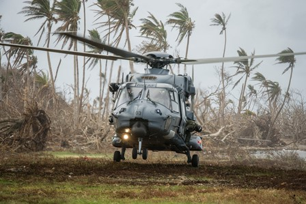 A RNZAF NH90 in a cyclone-affected Fiji