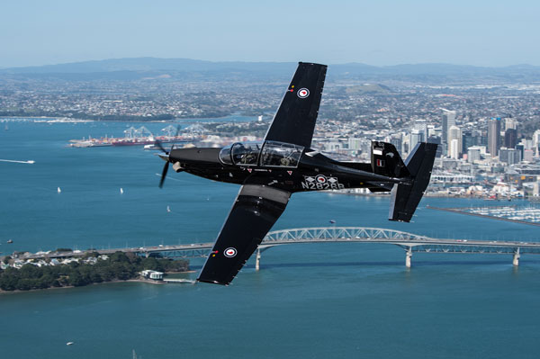 T-C6 Texan II over Auckland. Image courtesy of New Zealand Defence Force.
