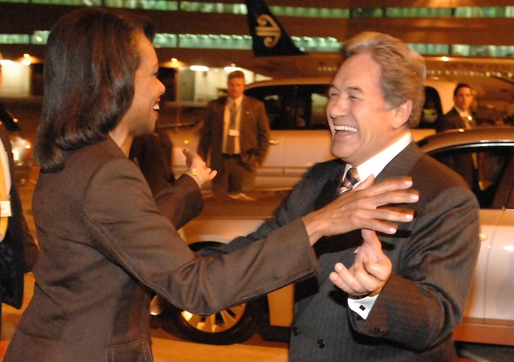 On the world stage again: Winston Peters and Condoleezza Rice in 2008. Image courtesy US Department of State.