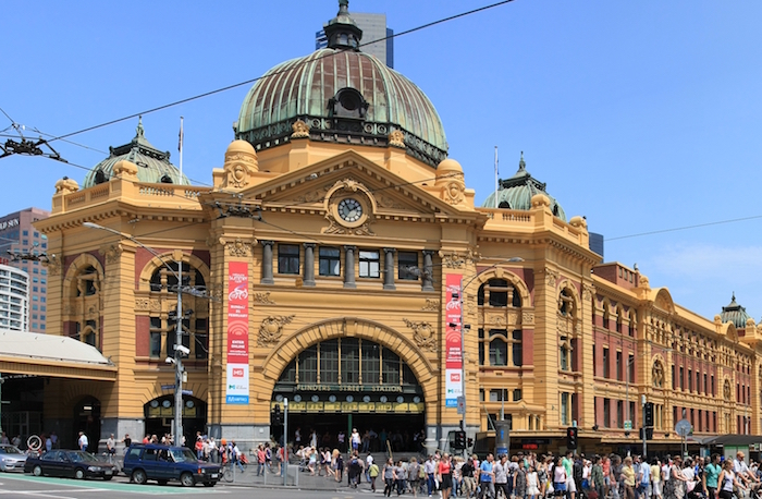 Flinders Street, Australia's busiest train station. Courtesy Adam.J.W.C.